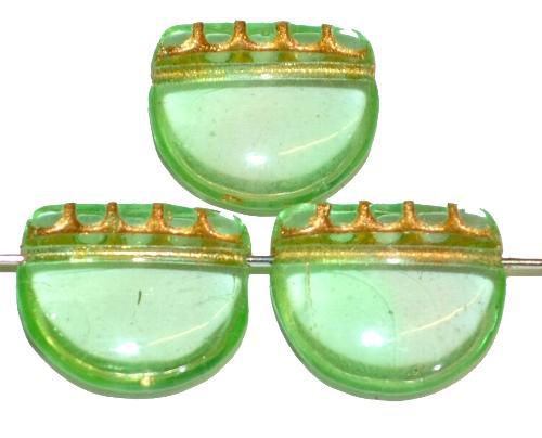Best.Nr.:59060 vintage style Glasperlen, nach alten Vorlagen aus den 1920 Jahren neu gefertigt in Gablonz / Tschechien ,hellgrün transparent mit Goldauflage