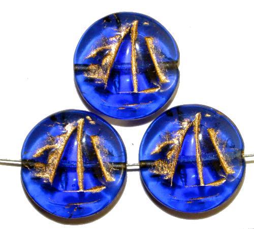 Best.Nr.:59062 Vintagestyle Glasperlen  blau transp. mit Goldauflage,  nach alten Vorlagen aus den 1940/50 Jahren neu gefertigt in Gablonz / Tschechien