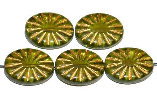 Best.Nr.:59064  vintage style Glasperlen ,  nach alten Vorlagen aus den 1930 Jahren neu gefertigt,  olivgrün transp. mit eingeprägtem Sonnensymbol und Goldauflage