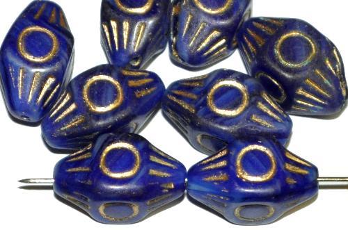 Best.Nr.:59065 Antik style Glasperlen mit Goldauflage, blau opak mit Goldauflage, nach alten Vorlagen aus den 1930/40 Jahren in Gablonz / Tschechien neu gefertigt