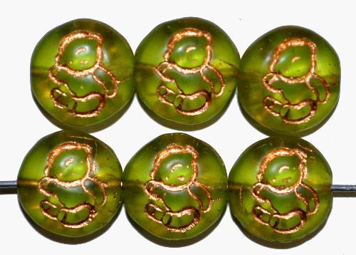 Best.Nr.:59068 vintage style Glasperlen,  nach alten Vorlagen aus den 1970 Jahren in Gablonz / Tschechien neu gefertigt,  eingeprägtes Bärchen mit Goldauflage