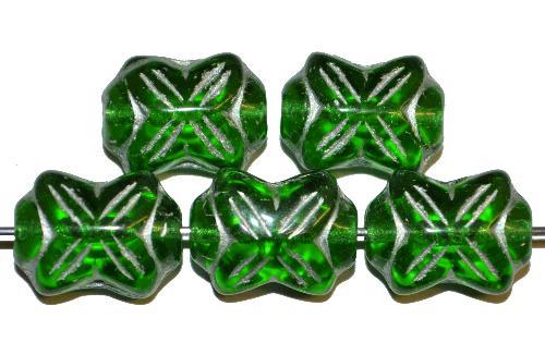 Best.Nr.:59069 vintage style Glasperlen in Schleifenform, grün transp. mit Silberauflage, nach alten Vorlagen aus den 1930 Jahren in Gablonz / Tschechien neu gefertigt