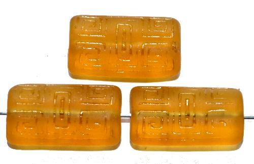 Best.Nr.:59070 Vintagestyle Glasperlen  topas transp. mattiert mit eingeprägtem