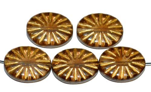 Best.Nr.:59072  vintage style Glasperlen ,  nach alten Vorlagen aus den 1930 Jahren neu gefertigt,  hellbraun transp. mit eingeprägtem Sonnensymbol und Goldauflage