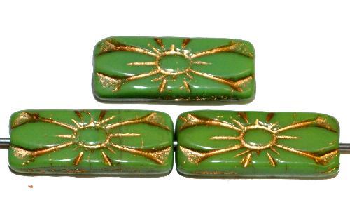 Best.Nr.:59074 vintage style Glasperlen mit Blütenornament, grün opak mit Goldauflage,  nach alten Vorlagen aus den 1930 Jahren in Gablonz / Tschechien neu gefertigt