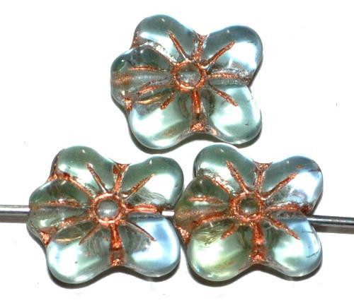Best.Nr.:59076 vintage style Glasperlen in Blütenform, light grün blau transp. mit Kupferauflage, nach alten Vorlagen aus den 1930 Jahren in Gablonz / Tschechien neu gefertigt