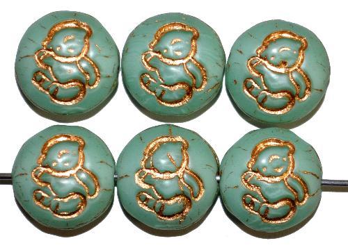 Best.Nr.:59079 vintage style Glasperlen,  nach alten Vorlagen aus den 1970 Jahren in Gablonz / Tschechien neu gefertigt,  eingeprägtes Bärchen mit Goldauflage