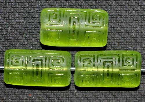 Best.Nr.:59079 Vintagestyle Glasperlen  grün transp. mit eingeprägtem