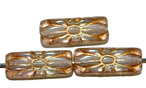 Best.Nr.:59088 vintage style Glasperlen mit Blütenornament, leicht getönt mit Goldauflage,  nach alten Vorlagen aus den 1930 Jahren in Gablonz / Tschechien neu gefertigt
