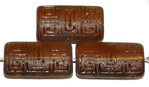 Best.Nr.:59091 Vintagestyle Glasperlen  braun transp. mattiert mit eingeprägtem