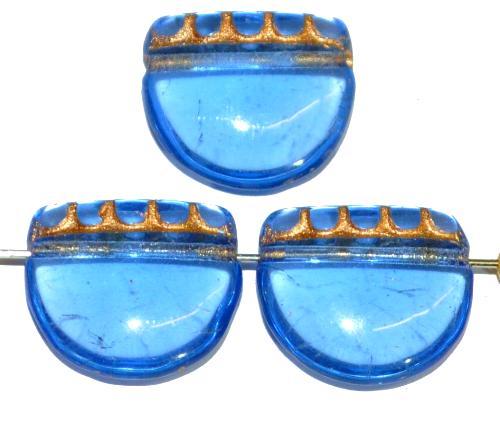 Best.Nr.:59097 vintage style Glasperlen, nach alten Vorlagen aus den 1920 Jahren neu gefertigt in Gablonz / Tschechien ,blau transparent mit Goldauflage