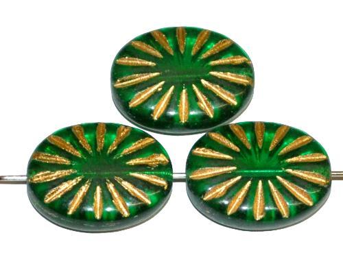 Best.Nr.:59102 vintage style Glasperlen , nach alten Vorlagen aus den 1930 Jahren neu gefertigt smaragdgrün transp. mit eingeprägtem Sonnensymbol und Goldauflage