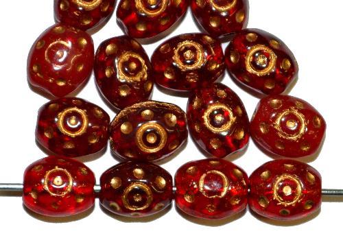 Best.Nr.:59103  Glasperlen häufig für Rosenkränze verwendet,  Farbmix rot mit Goldauflage,  in den 1950/60 Jahren in Gablonz/Böhmen hergestellt