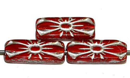 Best.Nr.:59146 vintage style Glasperlen mit Blütenornament,  alabasterrot mit Silberauflage,  nach alten Vorlagen aus den 1930 Jahren in Gablonz / Tschechien neu gefertigt