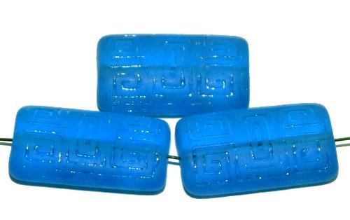 Best.Nr.:59110  Vintagestyle Glasperlen  blau transp. mattiert mit eingeprägtem