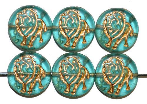Best.Nr.:59111 vintage style Glasperlen,  nach alten Vorlagen aus den 1970 Jahren in Gablonz / Tschechien neu gefertigt,  eingeprägter Löwe mit Goldauflage