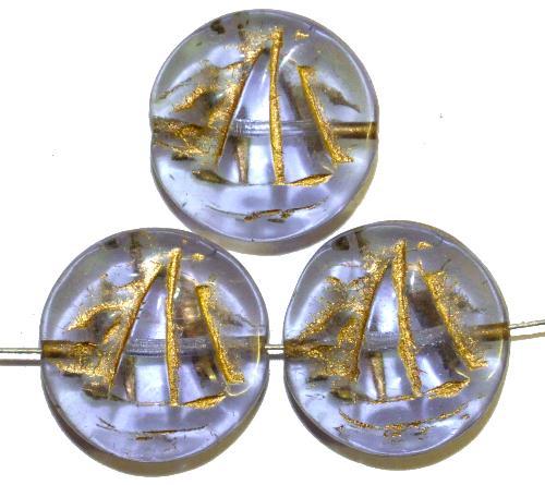 Best.Nr.:59111 Vintagestyle Glasperlen  mit Goldauflage,  nach alten Vorlagen aus den 1940/50 Jahren neu gefertigt in Gablonz / Tschechien