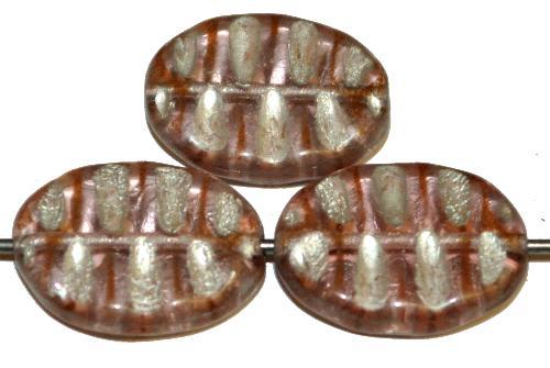 Best.Nr.:59114 Antikstyle Glasperlen, nach alten Vorlagen aus den 1930/40 Jahren neu gefertigt dustyviolett mit Silberauflage