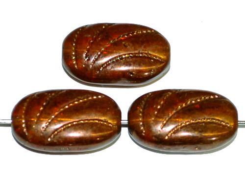Best.Nr.:59119 Antik style Glasperlen topas  bronziert mit geprägter Oberfläche, nach alten Vorlagen aus den 1930/40 Jahren in Gablonz / Tschechien neu gefertigt