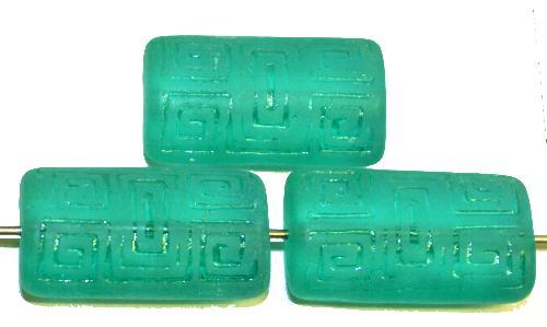 Best.Nr.:59119 Vintagestyle Glasperlen  smaragdgrün transp. mattiert mit eingeprägtem