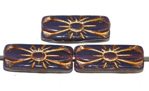 Best.Nr.:59128 vintage style Glasperlen mit Blütenornament, Opalglas violett mit Goldauflage,  nach alten Vorlagen aus den 1930 Jahren in Gablonz / Tschechien neu gefertigt