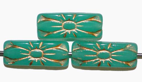 Best.Nr.:59137 vintage style Glasperlen mit Blütenornament, alabastertürkis mit Goldauflage,  nach alten Vorlagen aus den 1930 Jahren in Gablonz / Tschechien neu gefertigt