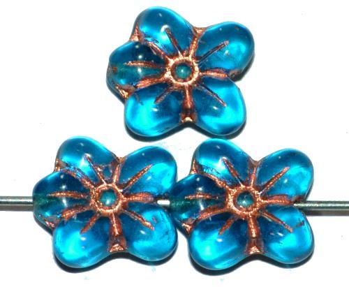 Best.Nr.:59137 vintage style Glasperlen in Blütenform, montanablau transp. mit Kupferauflage, nach alten Vorlagen aus den 1930 Jahren in Gablonz / Tschechien neu gefertigt