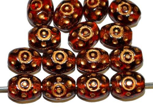 Best.Nr.:59143  Glasperlen häufig für Rosenkränze verwendet,  topas transp. mit Goldauflage,  in den 1950/60 Jahren in Gablonz/Böhmen hergestellt