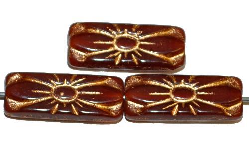 Best.Nr.:59144 vintage style Glasperlen mit Blütenornament, alabasterbraun mit Goldauflage,  nach alten Vorlagen aus den 1930 Jahren in Gablonz / Tschechien neu gefertigt