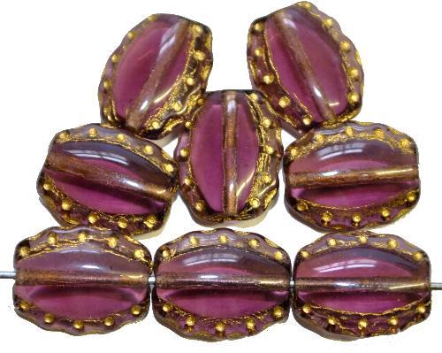 Best.Nr.:59149 Vintage style Glasperlen  violett mit Goldauflage,,  nach alten Vorlagen aus den 1930/40Jahren  neu gefertigt in Gablonz / Tschechien