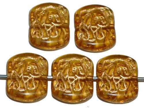 Best.Nr.:59153 vintage style Glasperlen, nach alten Vorlagen aus den 1970 Jahren neu gefertigt, gelb transparent mit eingeprägter Elefant und Goldauflage