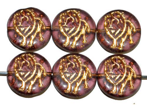 Best.Nr.:59159 vintage style Glasperlen,  nach alten Vorlagen aus den 1970 Jahren in Gablonz / Tschechien neu gefertigt,  eingeprägter Löwe mit Goldauflage