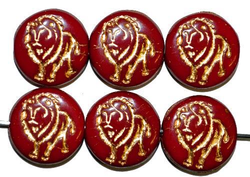 Best.Nr.:59162 vintage style Glasperlen,  nach alten Vorlagen aus den 1970 Jahren in Gablonz / Tschechien neu gefertigt,  eingeprägter Löwe mit Goldauflage