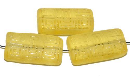 Best.Nr.:59167  Vintagestyle Glasperlen  gelb transp. mattiert mit eingeprägtem