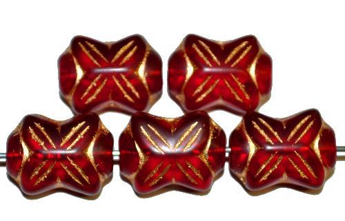 Best.Nr.:59169  vintage style Glasperlen in Schleifenform,  rot mit Goldauflage,  nach alten Vorlagen aus den 1930 Jahren in Gablonz / Tschechien neu gefertigt