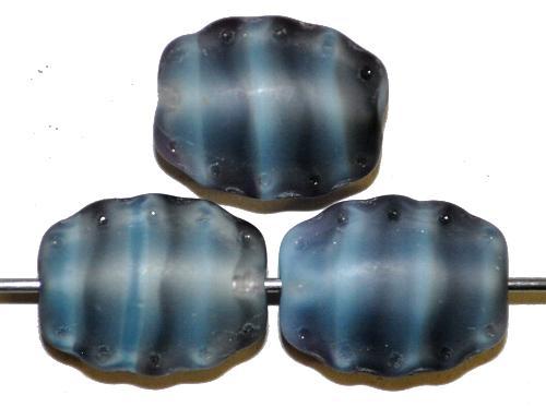 Best.Nr.:59169 Vintage style Glasperlen,  Perlett graublau mattiert (frostet)  nach alten Vorlagen aus den 1930/40Jahren  in Gablonz / Tschechien neu gefertigt
