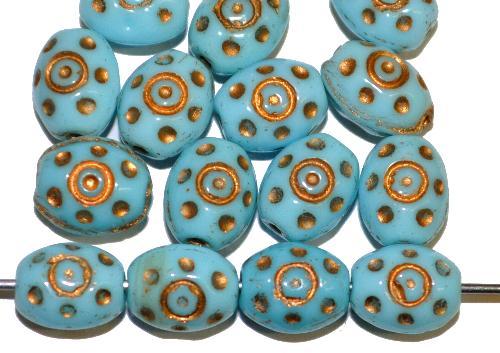 Best.Nr.:59185  Glasperlen häufig für Rosenkränze verwendet,  hellblau opak mit Goldauflage,  in den 1950/60 Jahren in Gablonz/Böhmen hergestellt