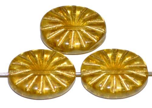 Best.Nr.:59187 vintage style Glasperlen , nach alten Vorlagen aus den 1930 Jahren neu gefertigt gelb transp. mit eingeprägtem Sonnensymbol und Goldauflage