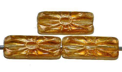 Best.Nr.:59191 vintage style Glasperlen mit Blütenornament, gelb transp. mit Goldauflage,  nach alten Vorlagen aus den 1930 Jahren in Gablonz / Tschechien neu gefertigt
