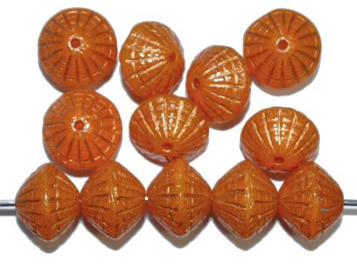 Best.Nr.:59196 vintage style Glasperlen in Spider web design, orange transp. mit Bronzeauflage, nach alten Vorlagen aus den 1920 Jahren in Gablonz / Tschechien neu gefertigt