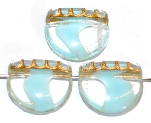 Best.Nr.:59196 vintage style Glasperlen, nach alten Vorlagen aus den 1920 Jahren neu gefertigt in Gablonz / Tschechien ,blau kristall mit Goldauflage
