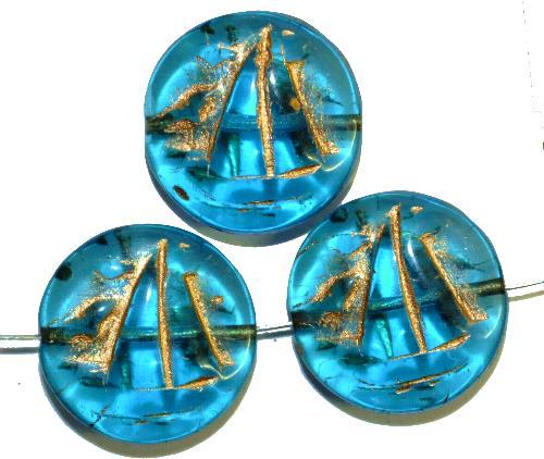 Best.Nr.:59196 Vintagestyle Glasperlen  türkis transp. mit Goldauflage,  nach alten Vorlagen aus den 1940/50 Jahren neu gefertigt in Gablonz / Tschechien