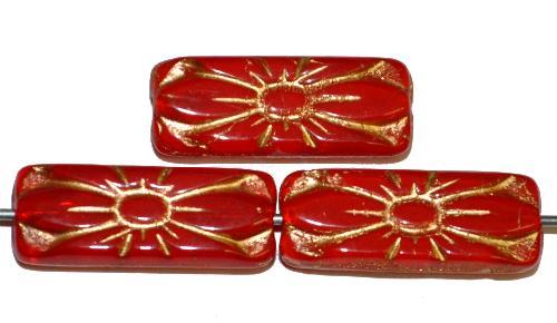 Best.Nr.:59197 vintage style Glasperlen mit Blütenornament, alabasterrot mit Goldauflage, nach alten Vorlagen aus den 1930 Jahren in Gablonz / Tschechien neu gefertigt