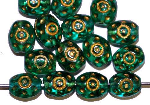 Best.Nr.:59206  Glasperlen häufig für Rosenkränze verwendet,  grün transp. mit Goldauflage,  in den 1950/60 Jahren in Gablonz/Böhmen hergestellt