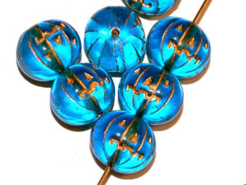 Best.Nr.:59212 Glasperlen / Halloween Kürbis  türkisblau transp. mit Goldauflage,  hergestellt in Gablonz Tschechien