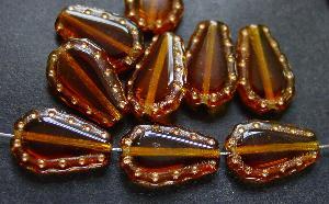 Best.Nr.:59215 Vintage style Glasperlen, nach alten Vorlagen aus den 1930/40Jahren neu gefertigt topas mit Goldauflage