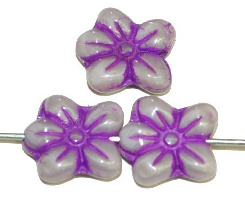 Best.Nr.:59219 vintage style Glasperlen in Blütenform, Alabasterglas naturweiß mit Farbauflage lila, nach alten Vorlagen aus den 1930 Jahren in Gablonz / Tschechien neu gefertigt