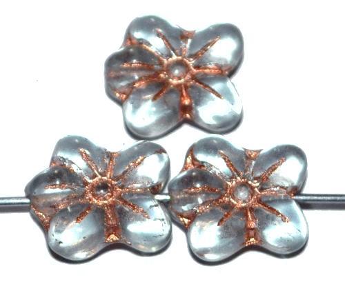 Best.Nr.:59223 vintage style Glasperlen in Blütenform, light aqua transp. mit Kupferauflage, nach alten Vorlagen aus den 1930 Jahren in Gablonz / Tschechien neu gefertigt