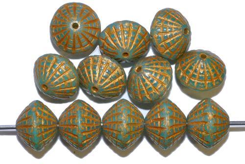 Best.Nr.:59225 vintage style Glasperlen in Spider web design, Opalglas grün mit Goldauflage, nach alten Vorlagen aus den 1920 Jahren in Gablonz / Tschechien neu gefertigt