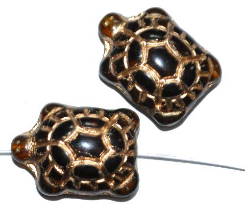 Best.Nr.:59241  Glasperlen Schildkröte topas transp.,  Vorderseite geprägt mit Goldauflage,  hergestellt in Gablonz / Tschechien